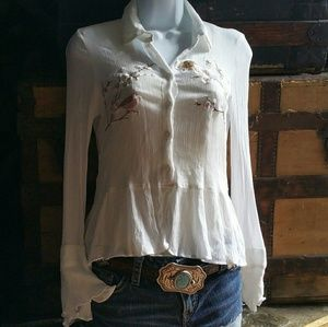Embroidered Delicate Button Down Shirt